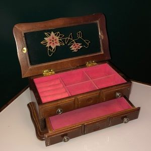 Other - Vintage Wood with Stained Glass Jewellery Box